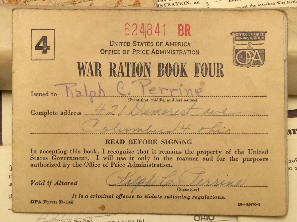 Ration Book containing Ration Stamps.