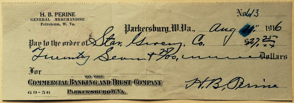 An August 1916 check from the H.B. Perrine store to Star Grocery Co.