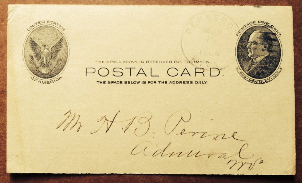 Postcard sent to H.B Perine confirming received payment.