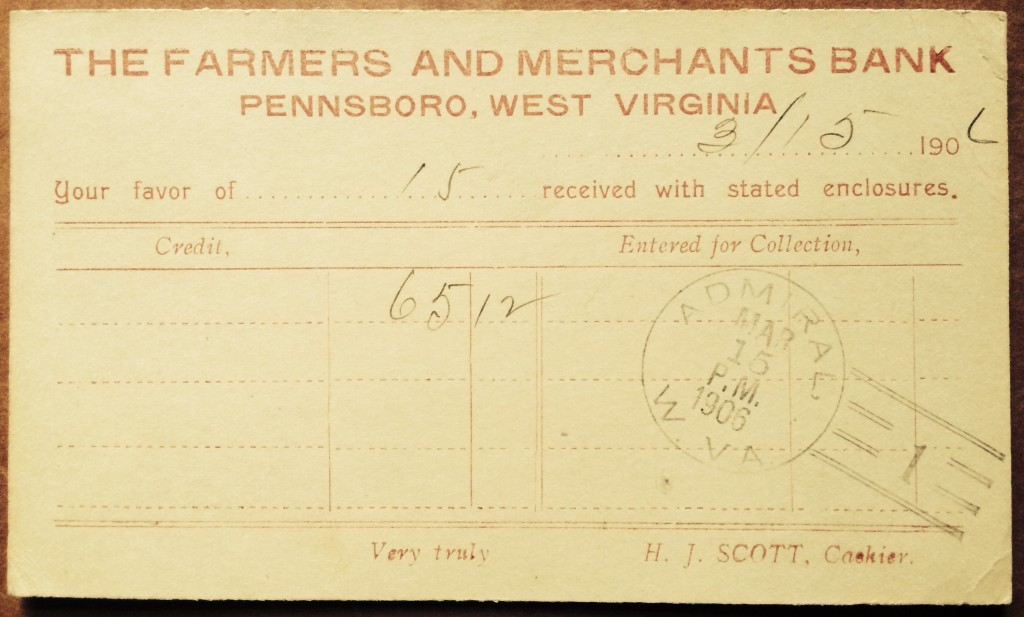 Back of postcard confirming receipt of payment.