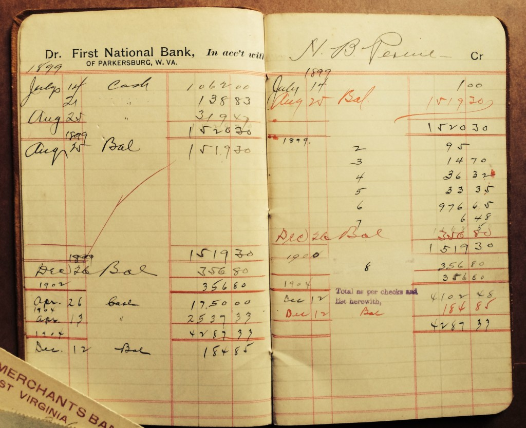 Bank account book with balances from July-December 1899.